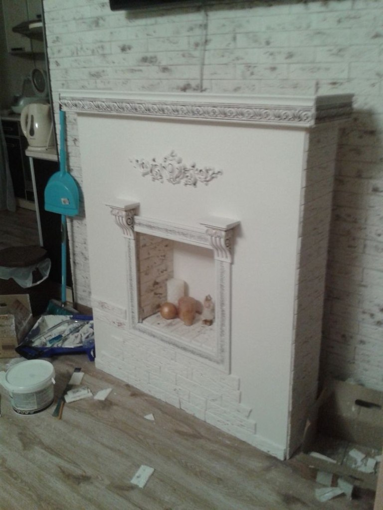 The decorative fireplace is almost ready