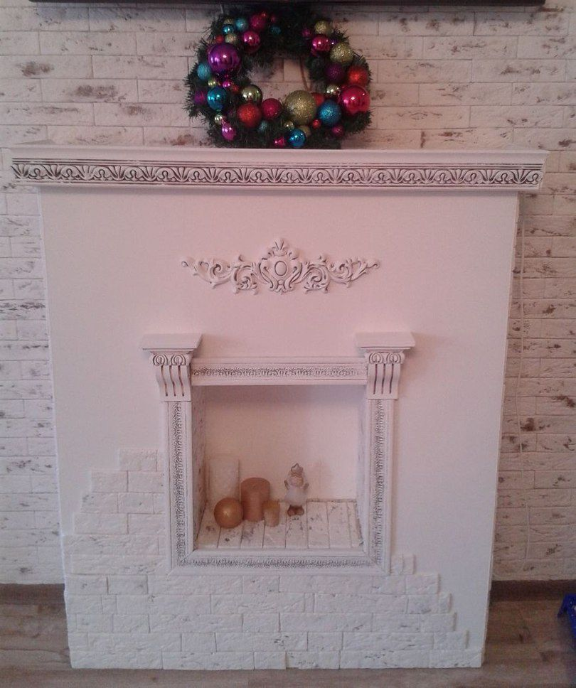 Decorative fireplace with his hands