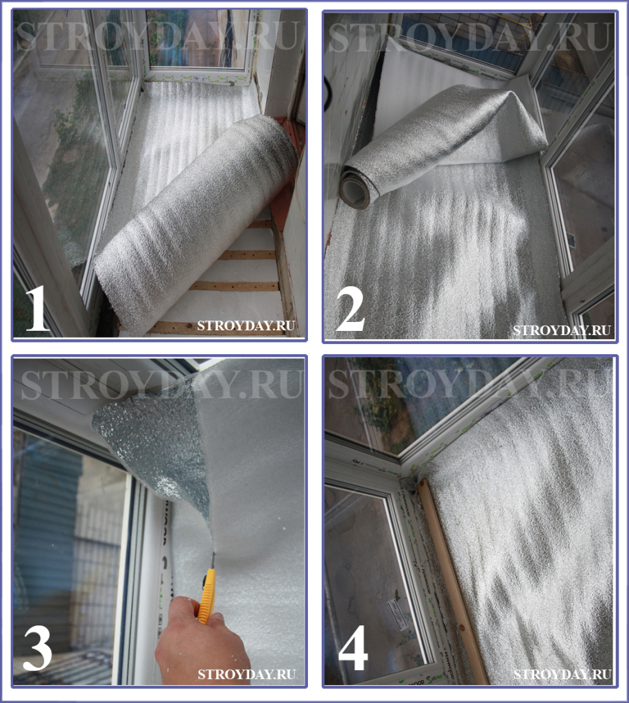 Step by step process of placing reflective insulation on the balcony