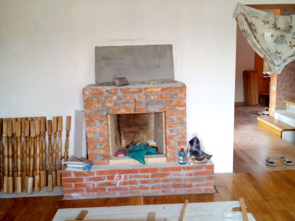 Fireplace in front finish
