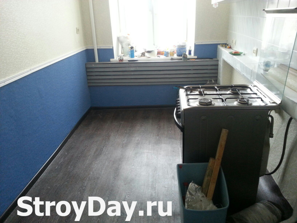 Cosmetic repairs in the kitchen in the Khrushchev is finished