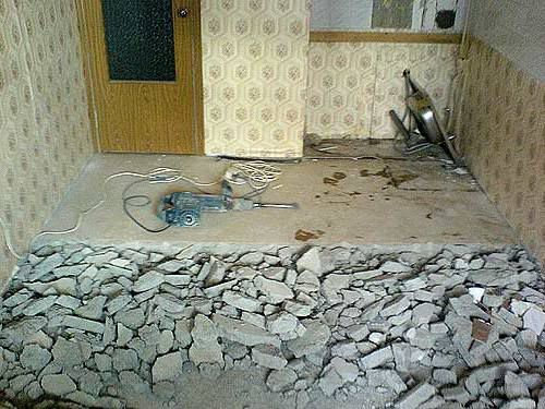 Remove the old screed