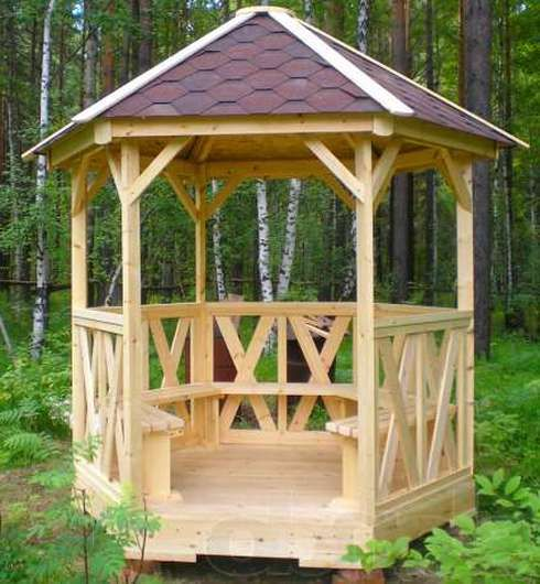 Construction hexagonal gazebo