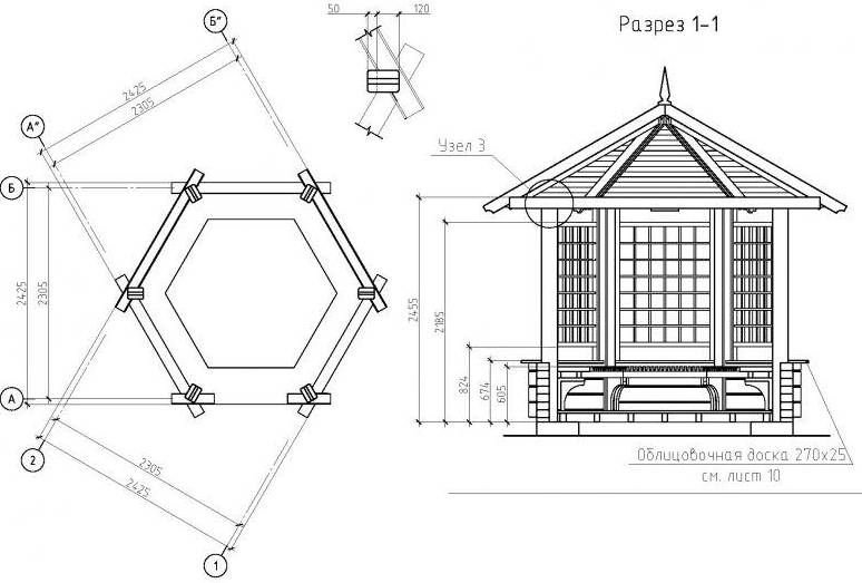 Driving hexagonal gazebo in the context of