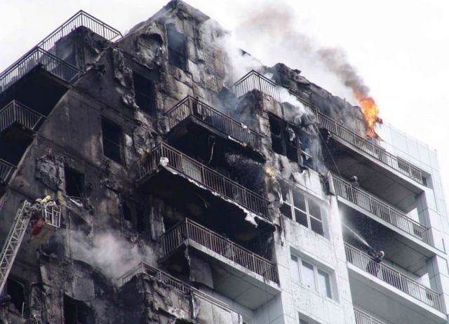 Terrible pictures - the burning insulation of facades