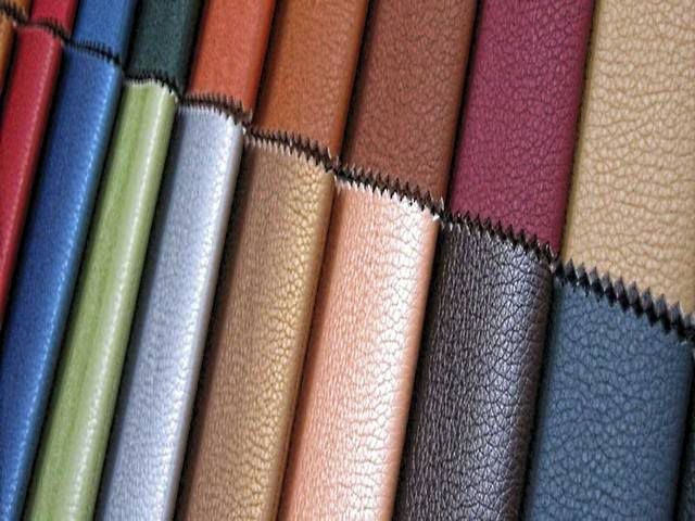 Leatherette or artificial leather is presented for sale in a large assortment