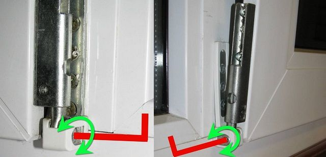 By turning this screw can be pressed or press the bottom corner of the window sash .