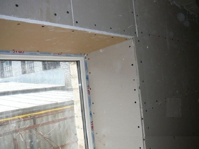 Slopes of plasterboard , fixed with screws