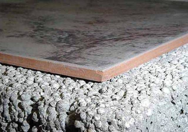 Good thermal insulation properties of the screed has keramsit