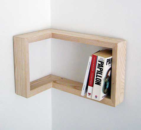 Corner wooden shelves