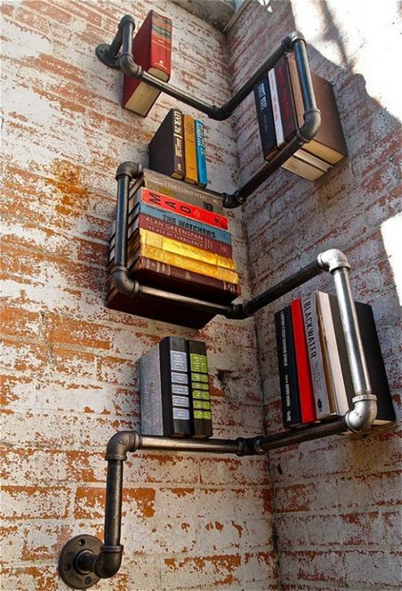 Unusual shelf from scrap materials