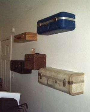 Shelves of old suitcases