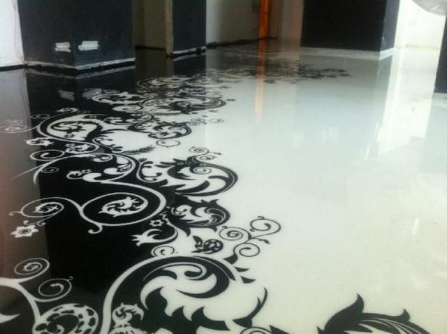 The floor can be executed only in two colors, a method of screen printing on