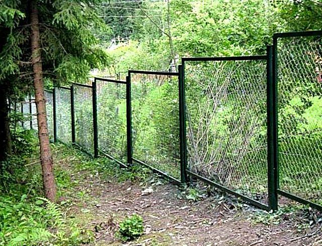 A fence made of frames with mesh - netting