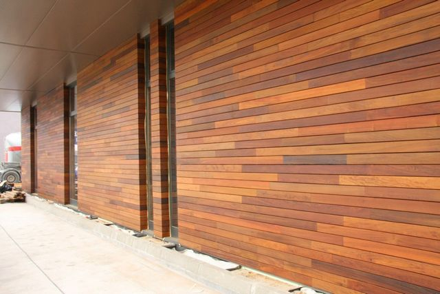 Wall finished with wood siding