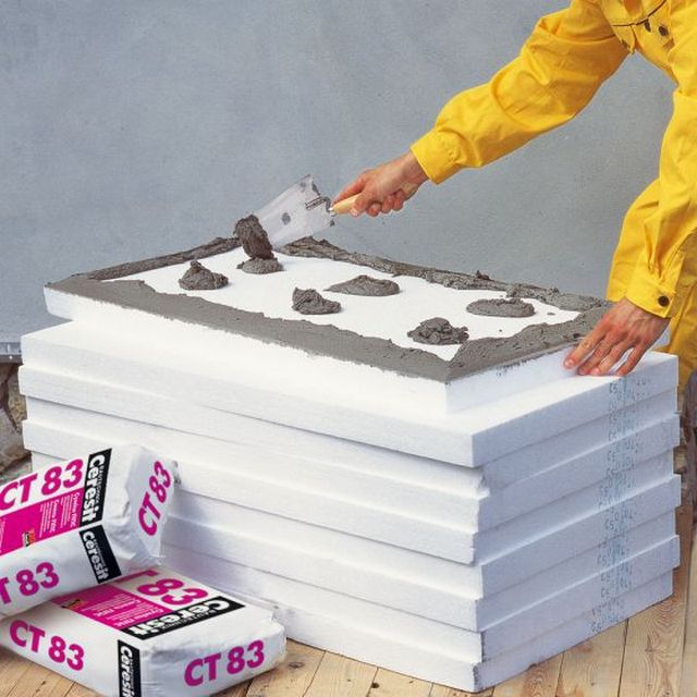 Heat cladding boards can be mounted on a construction adhesive