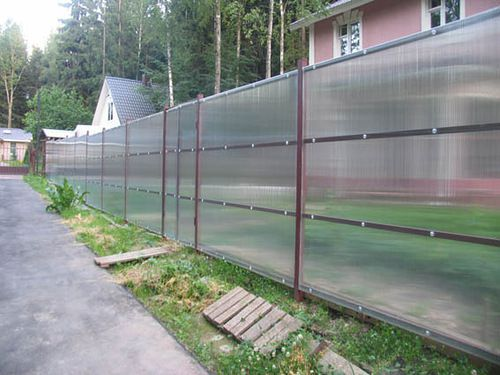 A fence made of polycarbonate