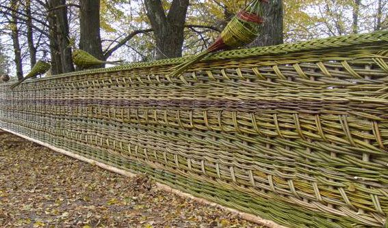 Decorative wicker fence for the garden