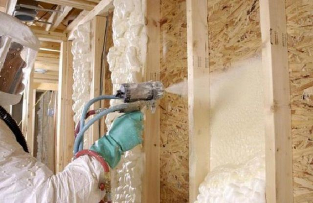 Insulation is applied layer by layer , from the bottom up