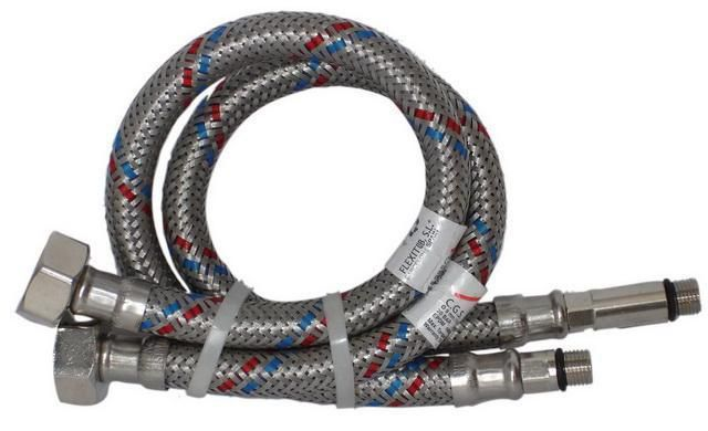 Set of flexible hoses in metallic braid