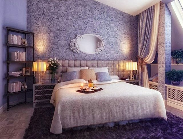 Bedroom interior with two types of wallpaper