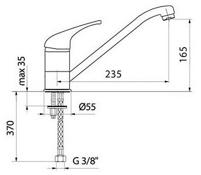 Sample installation diagram of the mixer on the studs