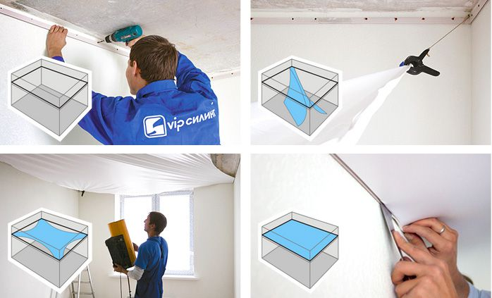 Driving stretch ceiling installation