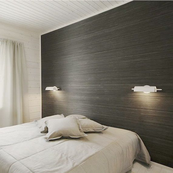 An example of mounting the laminate on the wall in the bedroom