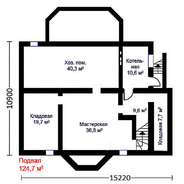 The general plan of the basement of the house with a dedicated room for the boiler