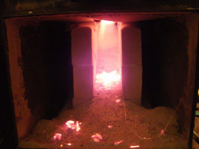 The flame in the combustion chamber