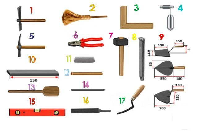 The tools that will be needed for masonry oven