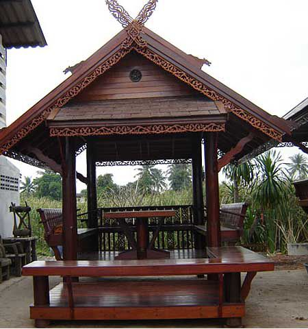 Wooden garden furniture in oriental style