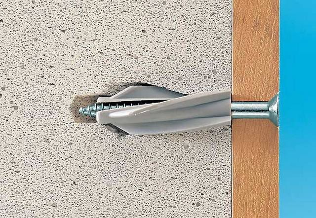 Nails or conventional plugs poorly kept aerated concrete wall - need special fasteners