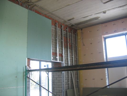 Fastening drywall to the metal profile
