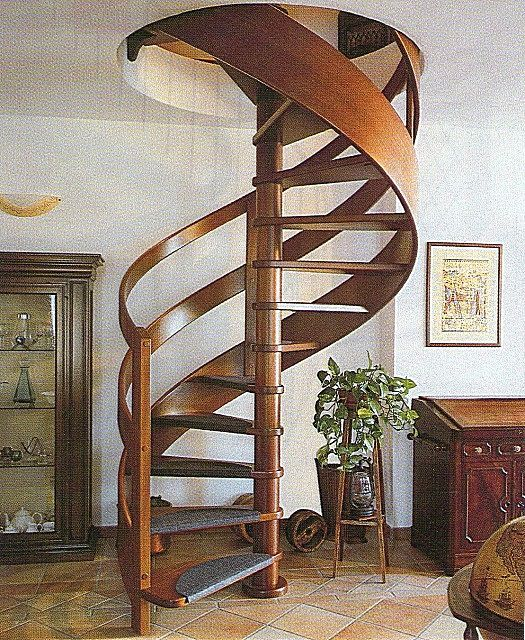 Spiral staircases - minimum space requirements , but not always easy to use