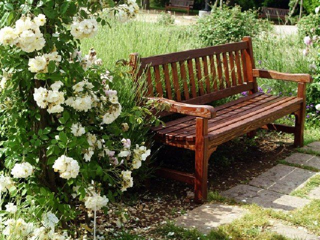 Garden bench with their hands