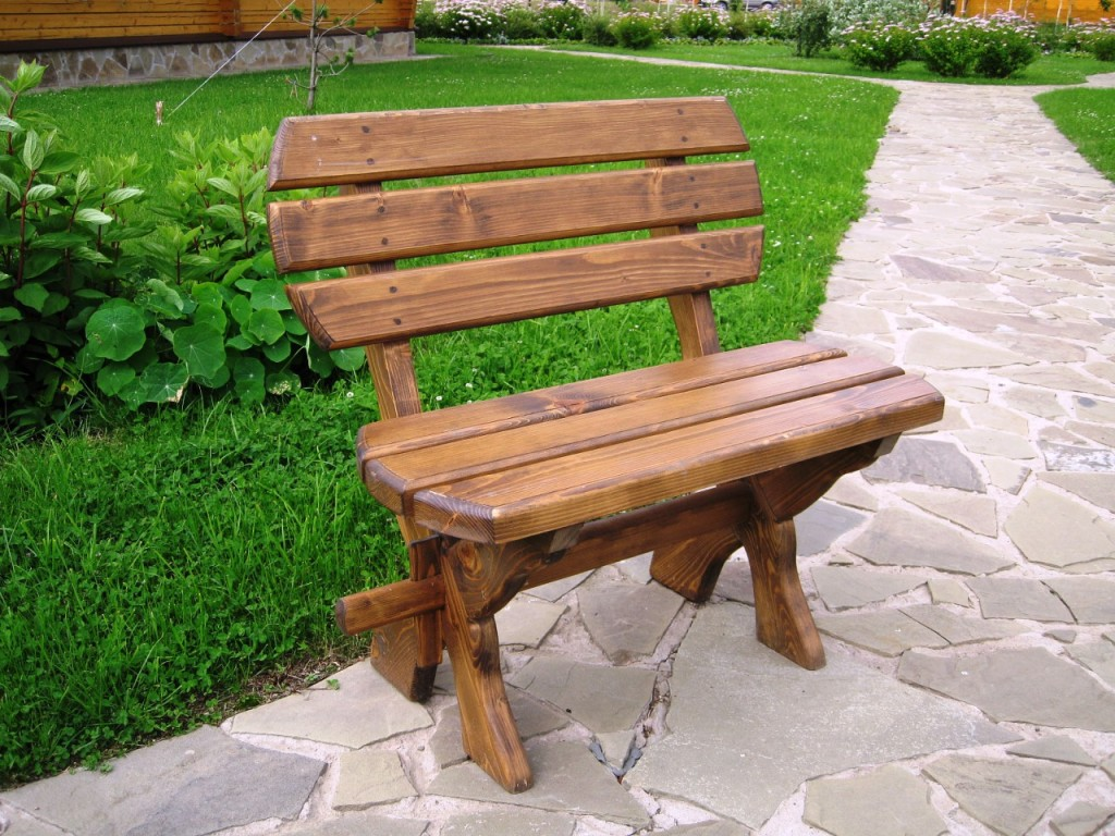 Garden bench with backrest
