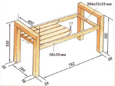 Driving a wooden bench with armrests