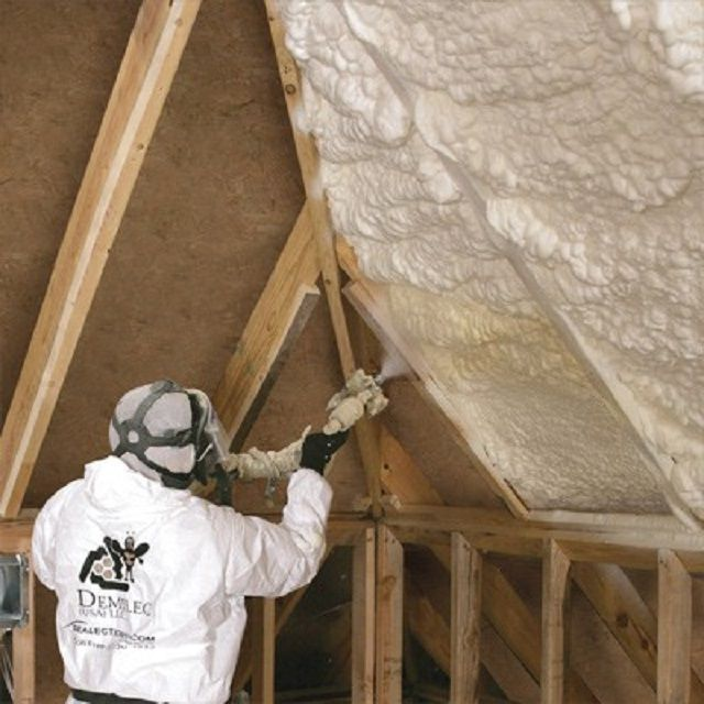 The process of spraying thermal insulation polyurethane foam layer