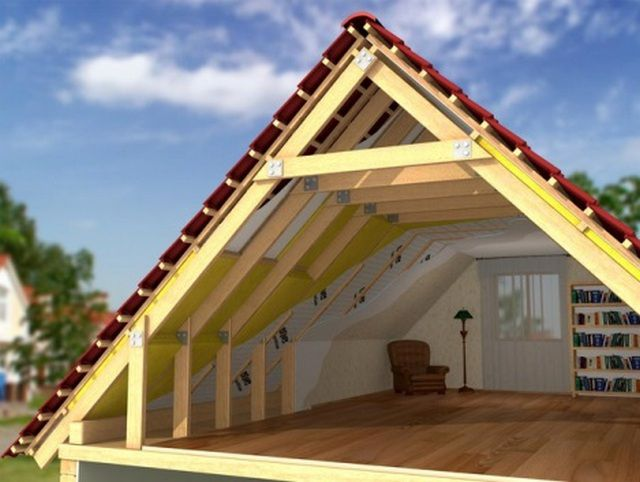 Under the gable roof can be organized and living room