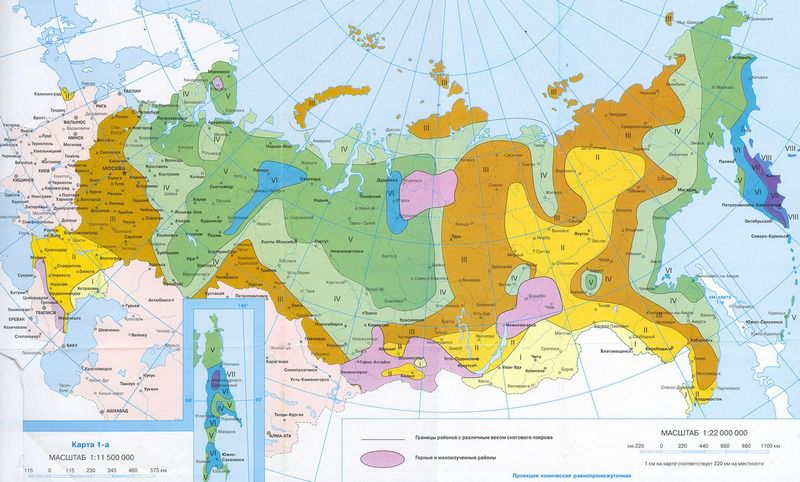 Map calculated snow loads on the territory of the Russian Federation