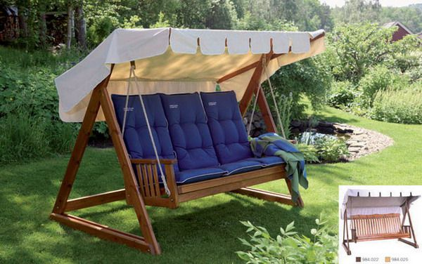 Swing wooden with cushions and sun awning