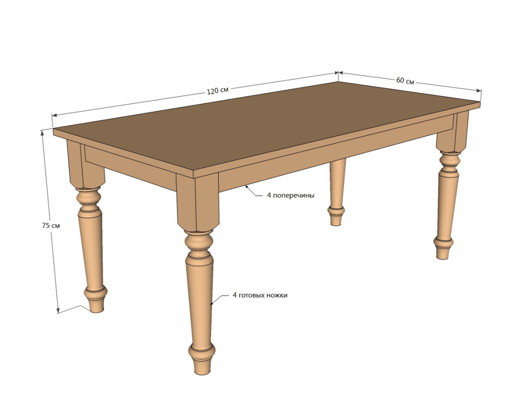 The table on legs .Drawing