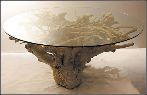 The table from the stump with glass top