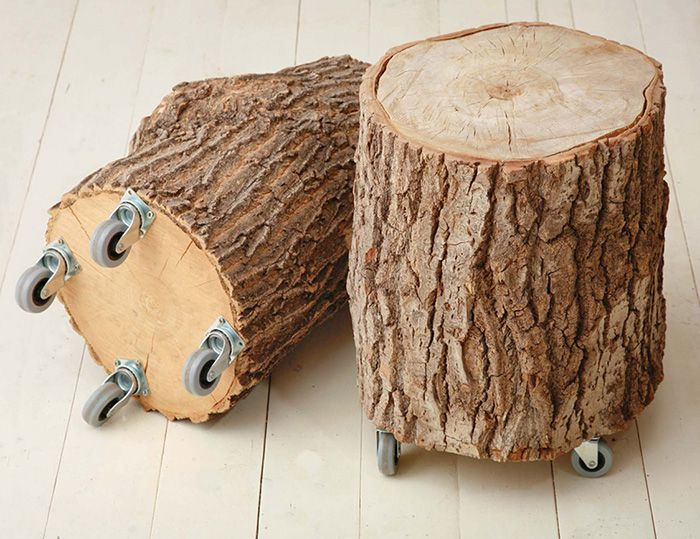 Table of stump on wheels