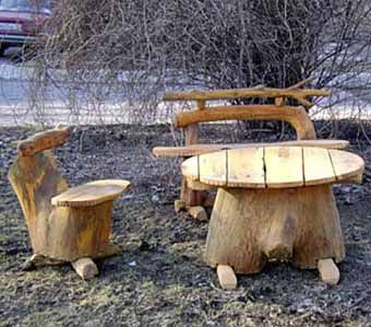 Tables and chairs of stumps