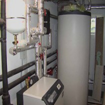Diagrams and water heating installation in a private house