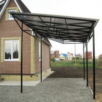 Extension to house a canopy made ​​of polycarbonate
