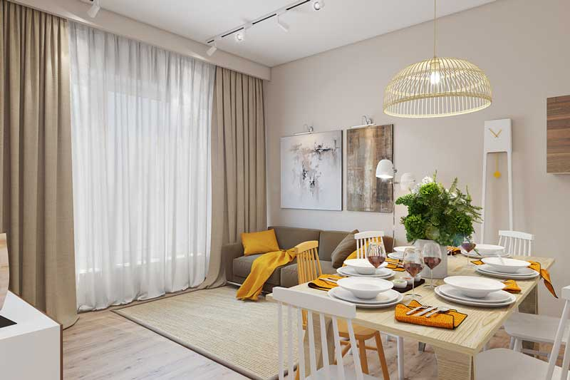 Gele woonkamer.Fotos van de projecten die u genieten - Build Daily