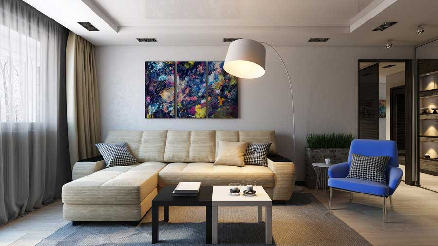 Progettazione soggiorno di 16 metri quadrati m una selezione dei progetti che vi innamorerete - Altezza quadri sopra divano ...
